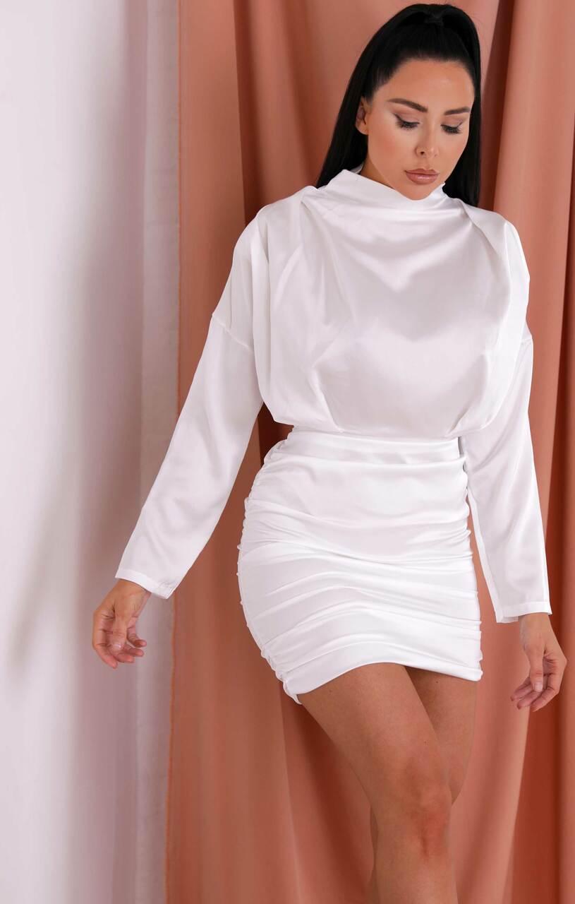 White Satin Batwing Ruched High Neck Bodycon Mini Dress - Rowena White 14