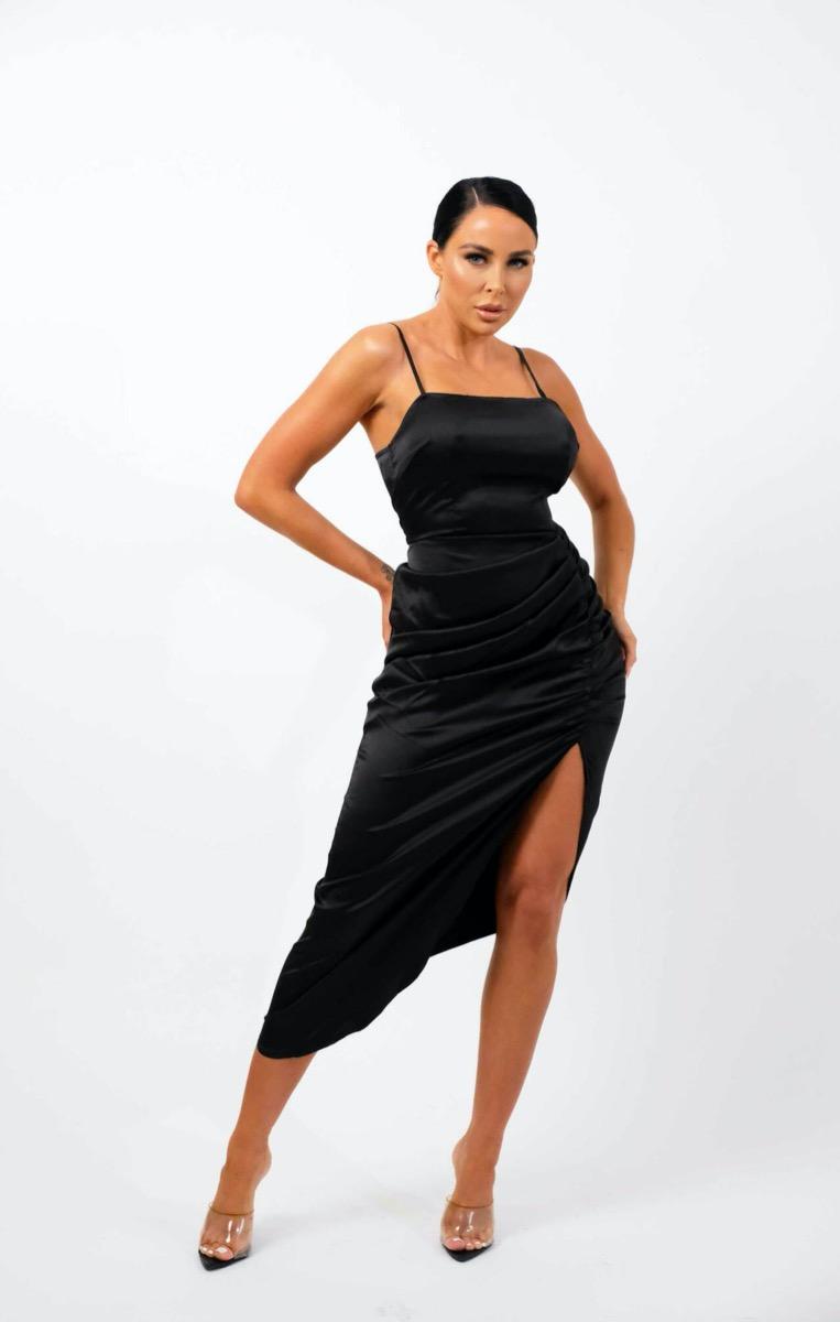 Black Satin Ruched Strappy Bodycon Maxi Dress - Arabella Black 8