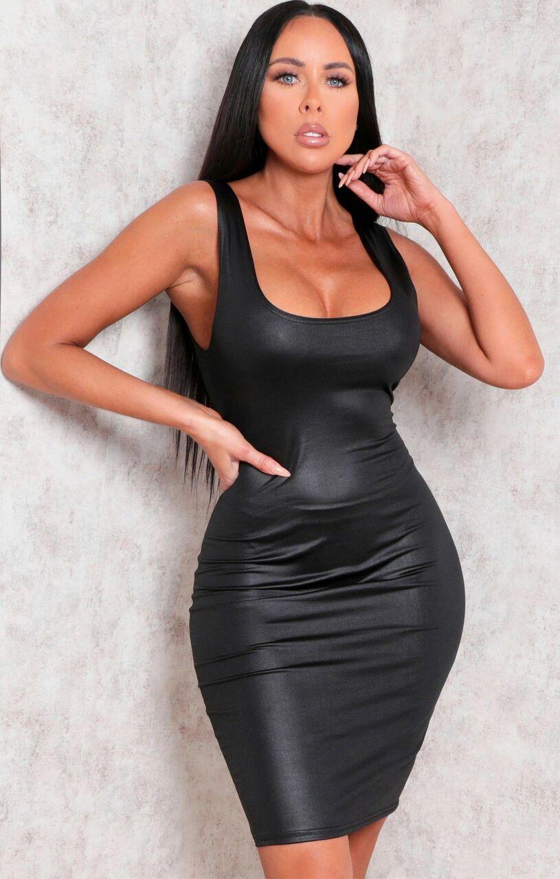 Black Faux Leather Thick Strap Bodycon Mini Dress - Nori Black 6
