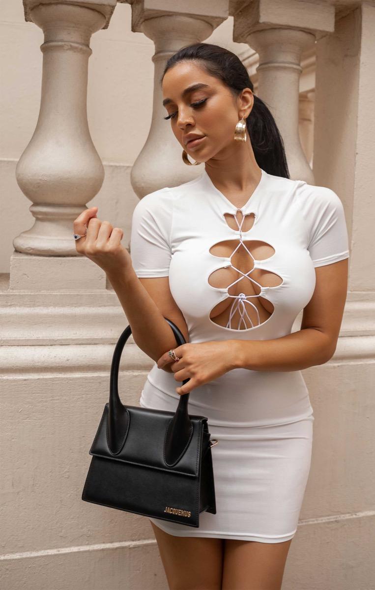 White Slinky Short Sleeve Lace Up Bodycon Mini Dress - Bonnie White