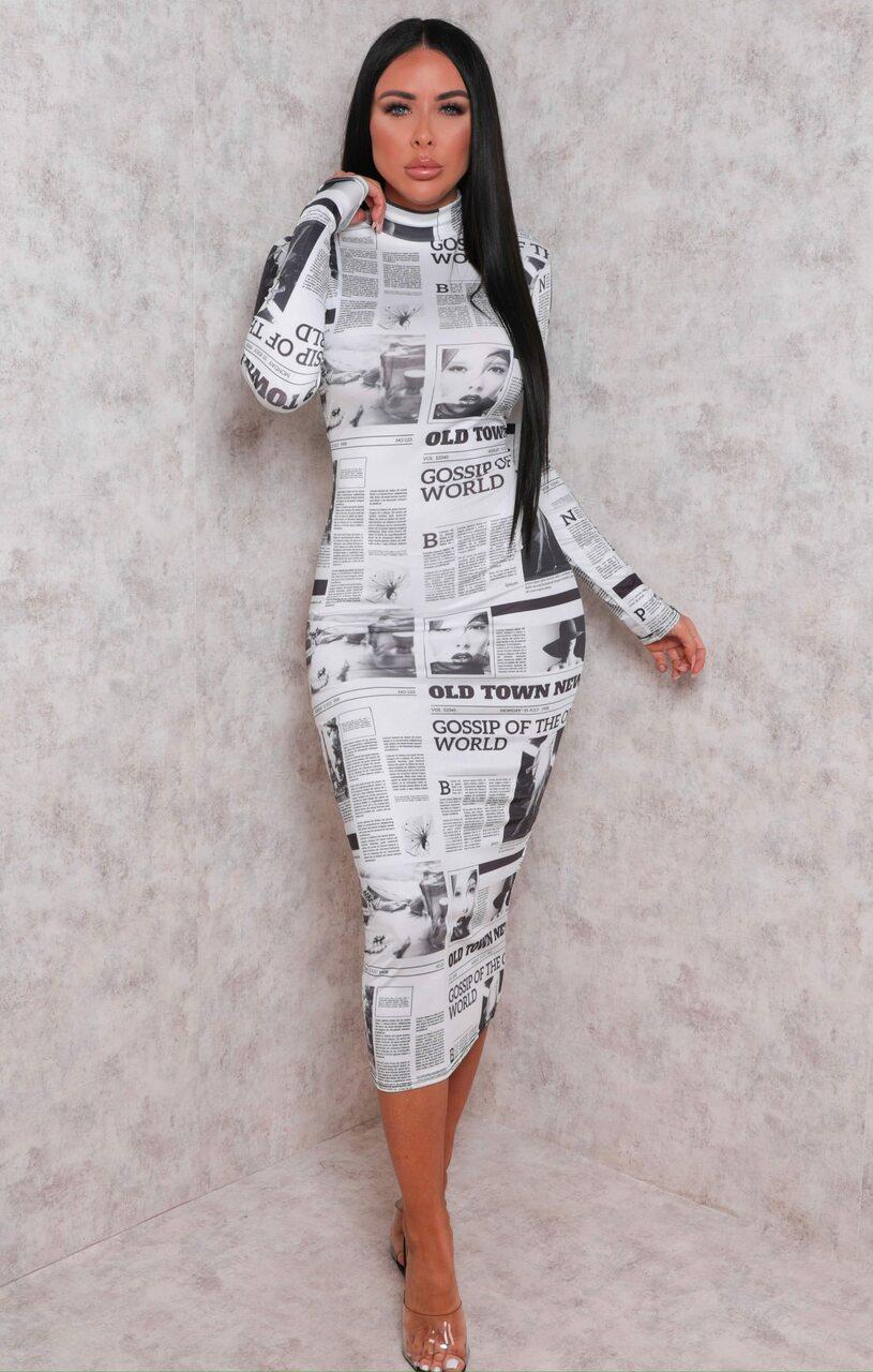 White Slinky Newspaper Print High Neck Midi Dress - Patrica White 10